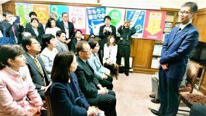 党代議士全員で宮本岳志衆院議員を熱く激励!