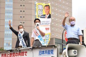 石川県金沢市と羽咋市で街頭宣伝と対話